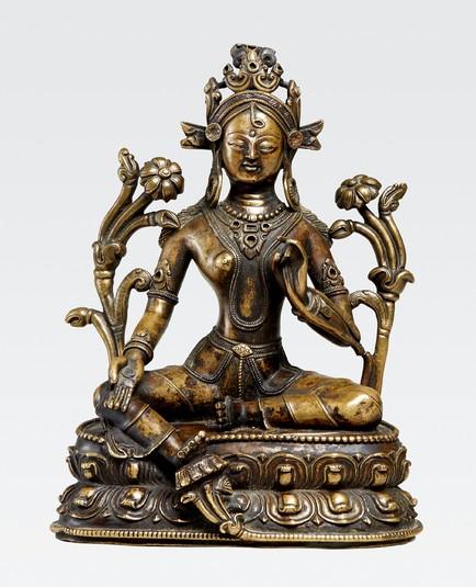 14th-15th-c-western-tibet-tara-c-a-stonescop-beltrim-of-crown-1841-cm-angularflattened-features-typical-of-wt-bonhams
