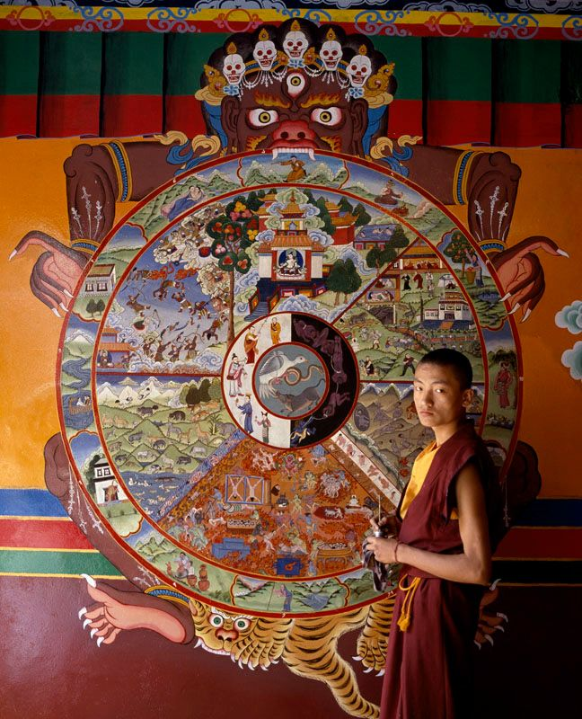 Tibetan monk painting 'Wheel of Life'.Dharamshala, India.
