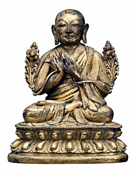 tsong-khapa-tibet-16th-c-gilt-bronze-sotheby